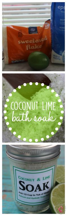 DIY Coconut Lime Bath Scrub and Foot Soak with Free Printable Labels - http://thriftydiydiva.com/diy-coconut-lime-bath-scrub-and-foot-soak-with-free-printable-labels/