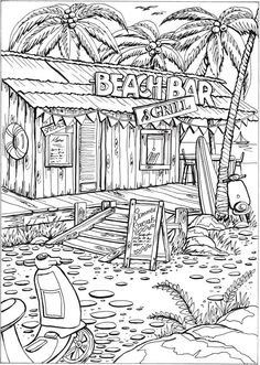 Welcome to Dover Publications Creative Haven Summer Scenes Coloring Book Make your world more colorful with free printable coloring pages from italks. Our free coloring pages for adults and kids. Beach Coloring Pages, Adult Coloring Book Pages, Printable Adult Coloring Pages, Coloring Pages To Print, Free Coloring Pages, Coloring Books, Kids Coloring, Detailed Coloring Pages, Summer Scenes