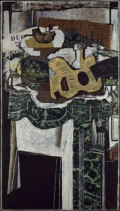 Guitar and Still Life on a Mantelpiece Artist: Georges Braque (French, Argenteuil Paris) Date: 1921 Medium: Oil with sand on canvas Dimensions: 51 × 29 in. Georges Braque, Pablo Picasso, Picasso And Braque, Henri Matisse, Cubist Art, Abstract Art, Alberto Giacometti, Rene Magritte, French Artists