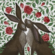 Hares and Red Roses - Catherine Rowe