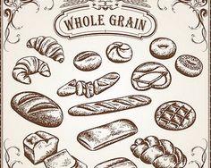 Vintage Bread Drawing Vector