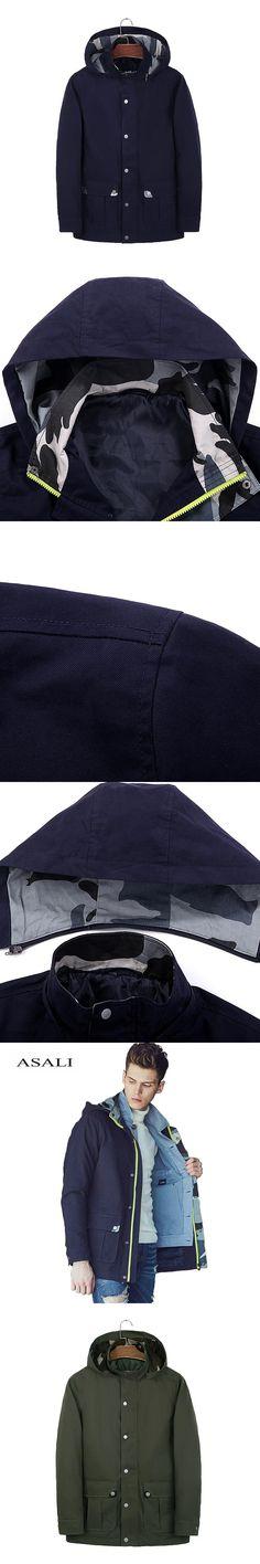 Men Outerwear & Coats Winter Auntum Style Cotton Zipper Casual Camouflage Jacket Famous Brand Khaki Army Green Coat Jacket Men