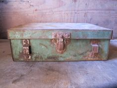 Vintage Industrial Rustic Green Metal Tackle/Tool Box by PortlandRevibe on Etsy