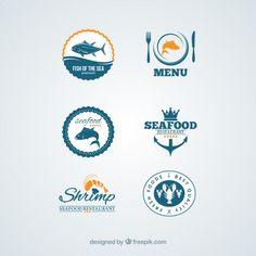 insignias mariscos #freepik