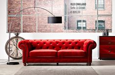 A RED ONE!! OLD ENGLAND #Sofa 3-Sitzer #Wohnzimmer #Butlers