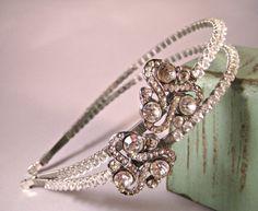Headband tiara - vintage brooches & Swarovski crystals