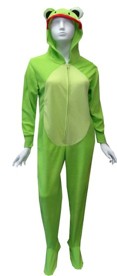 Green Frog Hooded Onesie Footie Pajama  $35 Hop to it!! These green footed pajamas for women are designed to look just like a frog, complete with eyes, nose and mouth on the hood. These soft micro polar fleece one piece footie pajamas have green ribbed cuffs at the wrist and have gripper bottoms. Machine washable and easy care. Junior cut.