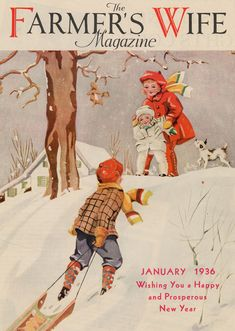 The Farmer's Wife Magazine, January 1936 Children sledding, vintage illustration.