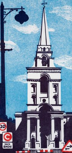 Christ Church Spitalfields by Janet Brooke Landscape Prints, Urban Landscape, Art Alevel, Architecture Art, Classical Architecture, Ancient Architecture, Sustainable Architecture, Linoprint, Building Art