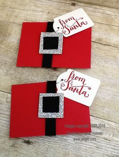 Jan's Quick and Easy Santa Gift card holder: Oh What Fun set, Gift Card Envelope Thinlits, Square framelits, Note Tag Punch - all from Stampin' Up!