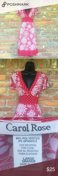 """❤️Red and White Dress❤️ Red and white dress that's comfortable, versatile, and flattering. Ties in back. Approximately 19"""" from arm pit to arm pit so great for a busty gal. Or if you're not busty or not into rockin cleavage it's cute with a camisole underneath. Hemline hits about mid knee on me and I'm 5'8"""". EUC. Worn once. Dresses"""