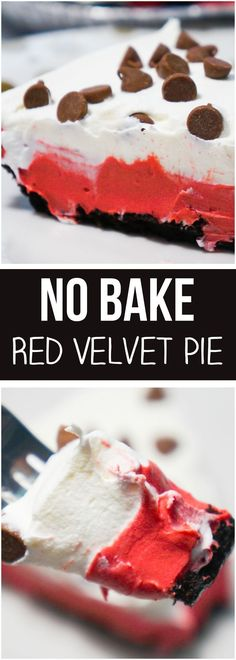 No Bake Red Velvet Pie is an easy no bake dessert recipe that starts out with an Oreo crust. This easy dessert recipe uses instant pudding mix, Cool Whip and milk chocolate chips. This colourful pie would be the perfect Christmas dessert.