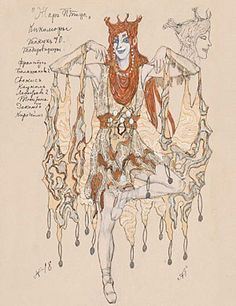 Costume design by Alexander Golovin for Swampwench, or Kikimora, in Stravinsky's fabulist Firebird, premiered by the Ballets Russes in Paris in 1910. (Mikhail Fokine had Pavlova in mind for the ballet when he choreographed Firebird, but when she heard Stravinsky's music, she is said to have declared it nonsense and declined to dance to it.) Golovin studied at the Moscow School of Painting and became the leading designer for the Mariinsky and Alexandrinsky Theaters in St. Petersburg.