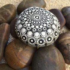 Black and White Dot Painted Stone Original Hand Painted by MKHArts