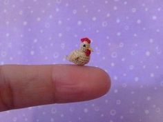 MUFFA's  Micro Miniature Crocheted Chicken Hen  by MuffaMiniatures