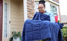 Equiilibra Truly Portable Weighted Blanket can go with you anywhere Seven Pounds, Bed Rest Pillow, Weighted Blanket, Minky Fabric, Bean Bag Chair, Comforters, Warm, Fashion, Creature Comforts