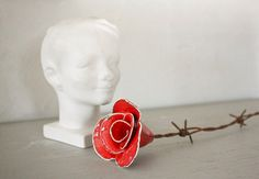 Red barbed wire rose by ValonaDesign on Etsy