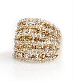Champagne diamonds are hot hot hot and this ring is right on trend! A neutral piece, pair with any outfit for added glam. | Champagne And White Diamond 3.00ctw Round 10k Yellow Gold Ring