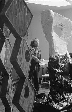 Hepworth in her studio (1964)