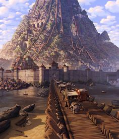 Mountain City of Omashu by Daniel Lieske bridge walls gate lake road farmland forest resting Volcano
