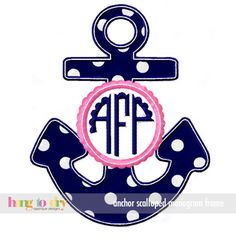 Hang to Dry Applique - Anchor Scalloped Monogram Frame, $3.99 (http://www.hangtodryapplique.com/anchor-scalloped-monogram-frame/)