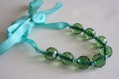 Pastel Blue and Green Toddler Necklace. $7.50, via Etsy.