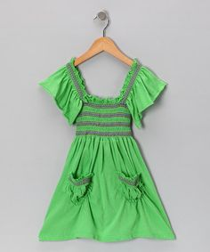 Take a look at this Lime Stitch Peasant Dress - Toddler & Girls by Raya Sun on #zulily today!