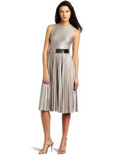 Pleated Metallic Matte Jersey Dress