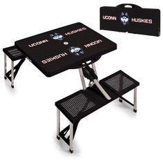 UConn Huskies Black Portable Picnic Table