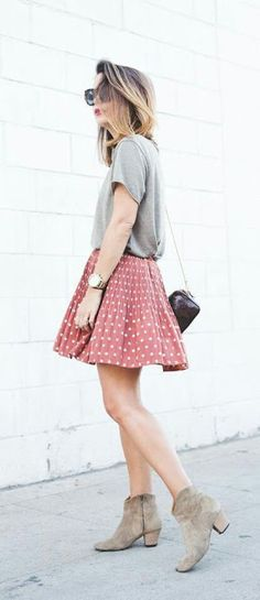 Grey T-shirt with polka dots mini skirt - street fashion