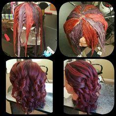 HOT NEW Hair Coloring Technique: Pinwheel Color! Red Hair red and purple hair Hair Color Techniques, Colouring Techniques, Makeup Techniques, Natural Hair Styles, Long Hair Styles, Hair Color And Cut, Fun Hair Color, Deep Red Hair Color, Love Hair