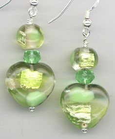 verdant patchwork green heart earrings by AGreenWoods on Etsy
