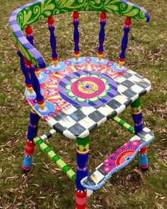 Custom designed,hand-painted chair from The Decorative Paintbrush. Hand Painted Chairs, Whimsical Painted Furniture, Hand Painted Furniture, Funky Furniture, Colorful Furniture, Paint Furniture, Upcycled Furniture, Kids Furniture, Kitchen Furniture