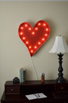 LOVE THIS! in Raspberry or Lime! Vintage Inspired Marquee Light Heart by SaddleShoeSigns on Etsy, $175.00