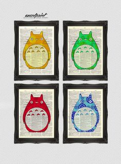 Set of 4 Pop Art Colorful Season of Totoro Matching Prints Unframed on Antique Bookpaper