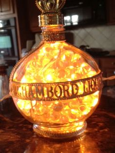 Bottles - filled with glass beads and amber lights