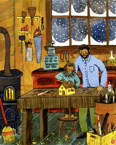 Winter Woodshop  For Taproot Magazine, Issue 4::WOOD  Watercolor, collage, colored pencil.   ©Phoebe Wahl 2012