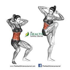 © Sasham   Dreamstime.com - Fitness exercising. Quarter Squat Crunch. Female