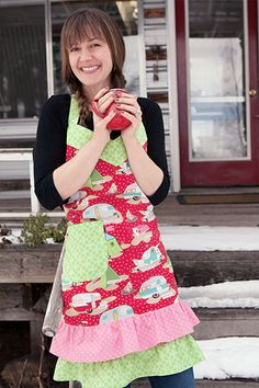 We have this glamping fabric in stock online, and what a fun way to use it in this retro apron!  Image from http://www.raisingjane.org/journal/tag/glamping-with-maryjane