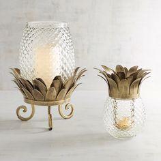 Glass Pineapple Hurricane Candle Holders Clear