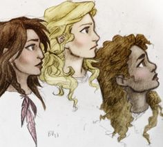 The ladies of Heroes of Olympus, Piper, Annabeth and Hazel. By leo-and-calypsos-garage2 on Tumblr.