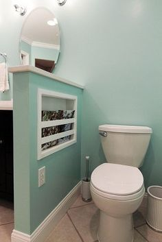 Bathroom Ideas--if you don't have space for a separate toilet closet (which was so nice in our old house!)--do a half wall with storage