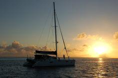 On a catamaran in Raiatea