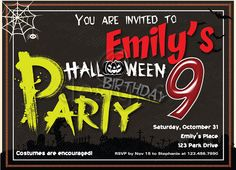 Halloween Digital Party Invitation No 3 by Odesigns on Etsy, €9.00