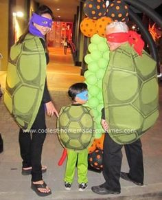 Homemade Ninja Turtles Group Costume: Last year, my son wanted to be a Ninja Turtle for Halloween so I bought him a costume.  But since we always do a family theme, I had to figure out how