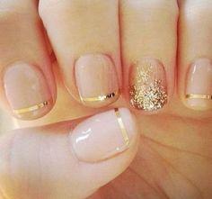 18 Chic Nail Designs for Short Nails: #1. Stylish Golden Nail Design