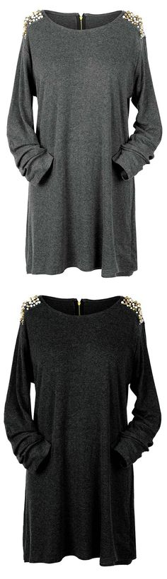 """Stunning look, $26.99! Free shipping & Easy Return + Refund! If your last collection is feeling a little too """"at ease"""" liven it up again with the Beading Is Fundamental Casual Long Top. Shine in the fall sun now. Pick it up at Cupshe.com !"""