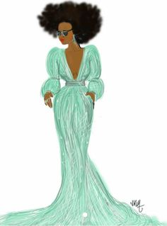 Afro Girl in a Green Dress by Nikisgroove
