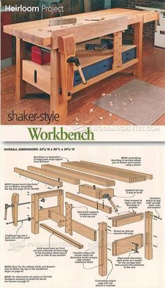 Shaker Workbench Plans - Workshop Solutions Projects, Tips and Tricks | WoodArchivist.com #WoodworkingBench