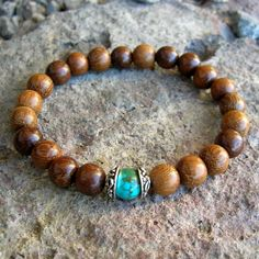 wrist mala bracelet with genuine turquoise gemstone guru bead